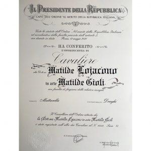 """Matilde Gioli """"Cavaliere della Repubblica"""""""